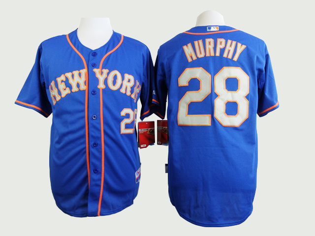 MLB New York Mets 28 Daniel Murphy Blue Grey Jerseys