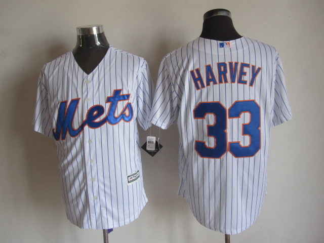 MLB New York Mets 33 Harvey Stripes White 2015 Jerseys