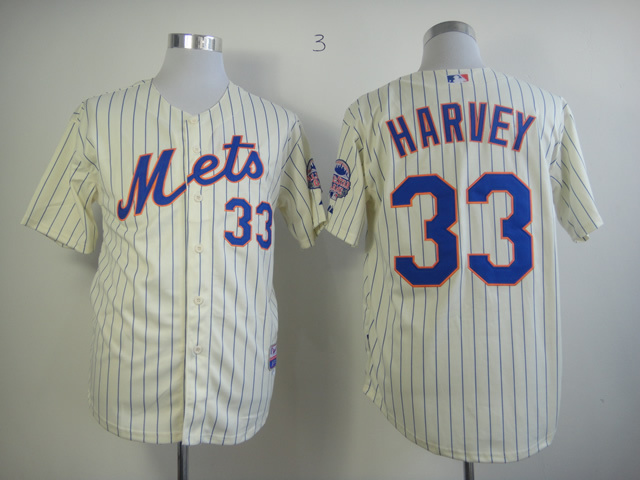 MLB New York Mets 33 Matt Harvey Cream Jerseys