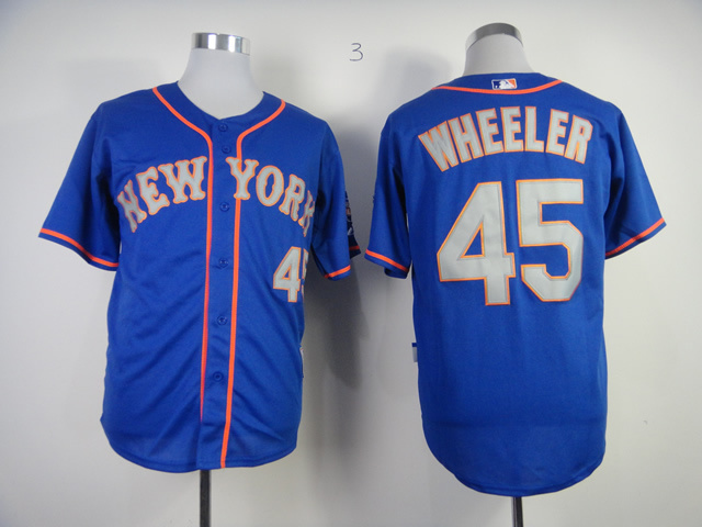 MLB New York Mets 45 Zack Wheeler Blue With Gray Jerseys