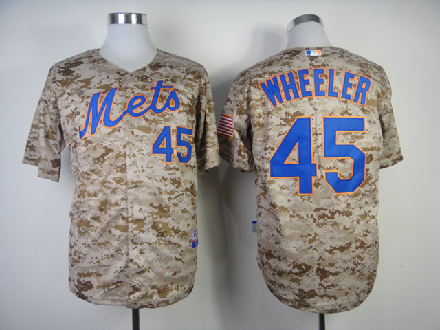MLB New York Mets 45 Zack Wheeler Camo Jerseys