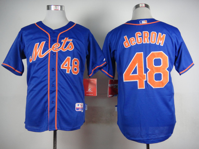 MLB New York Mets 48 deGrom Blue 2015 Jerseys