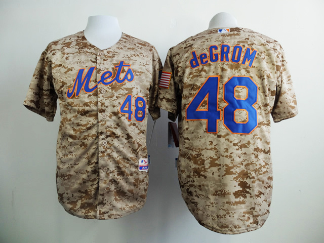 MLB New York Mets 48 deGrom Camo 2015 Jerseys