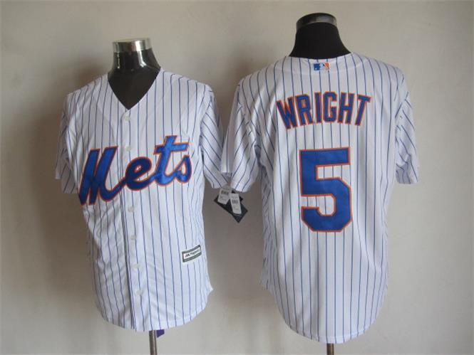 MLB New York Mets 5 Wright Stripes White 2015 Jerseys