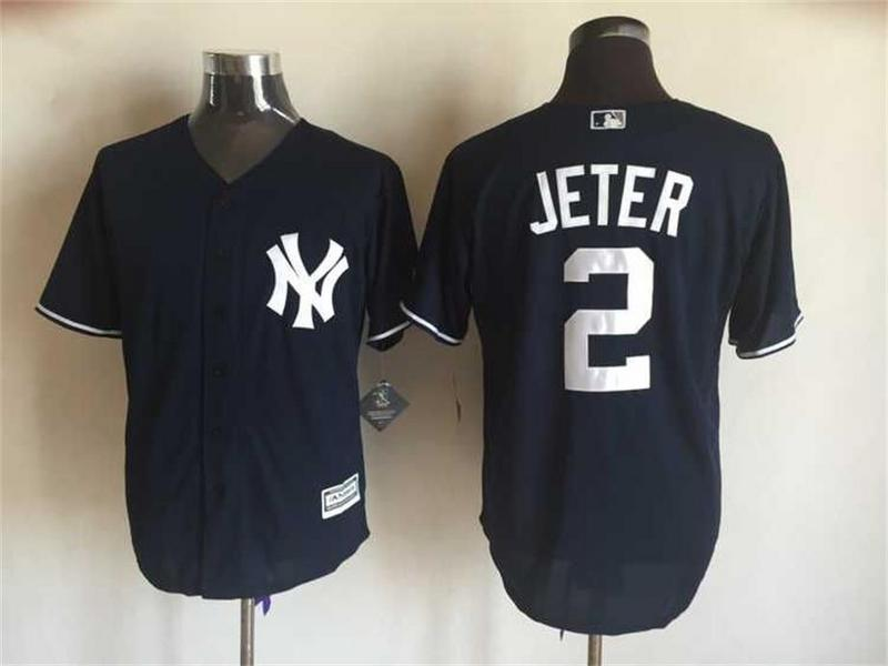 MLB New York Yankees 2 Derek Jeter Black 2015 Jerseys