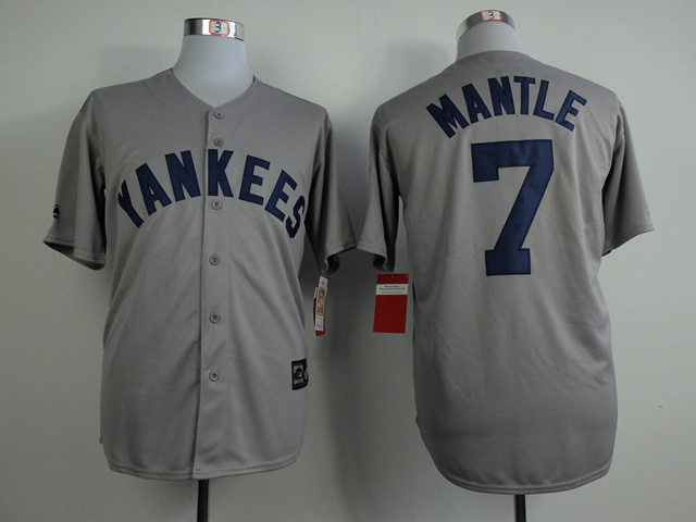 MLB New York Yankees 7 Mickey Mantle Gray Throwback Vintage Jerseys
