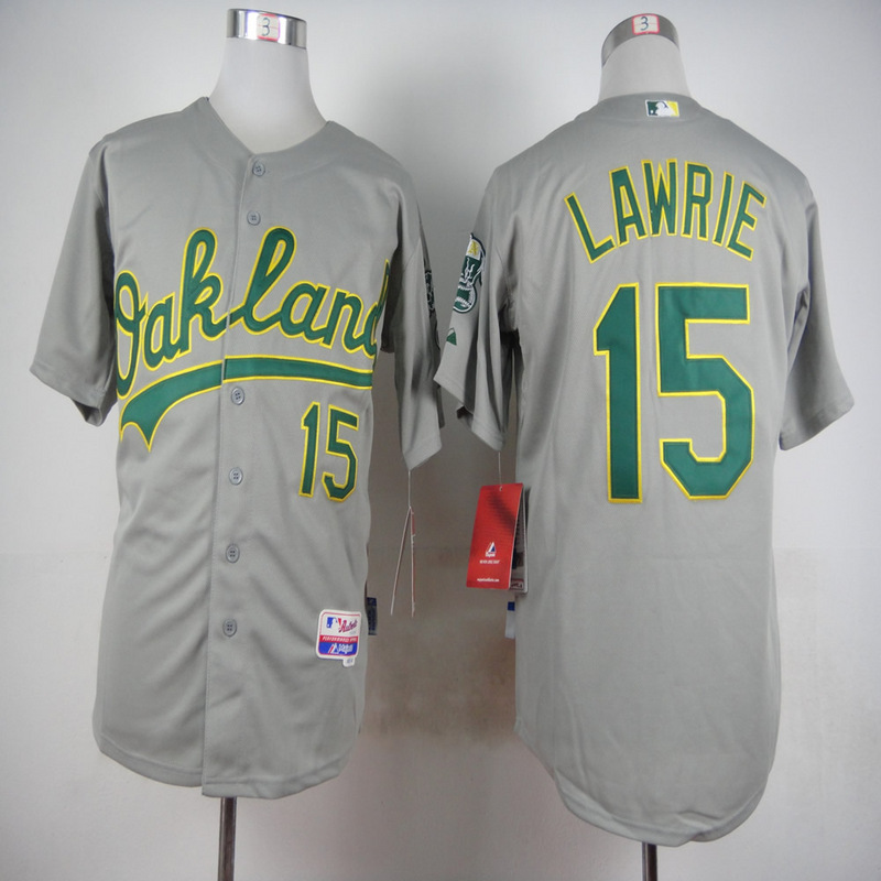MLB Oakland Athletics 15 Brett Lawrie Grey 2015 Jerseys