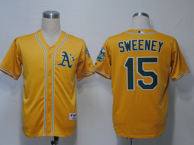 MLB Oakland Athletics 15 Sweeney Yellow Jerseys