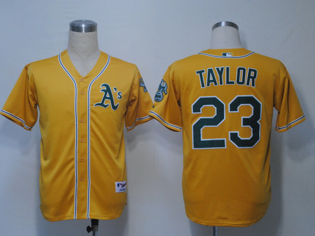 MLB Oakland Athletics 23 Taylor Yellow Jerseys