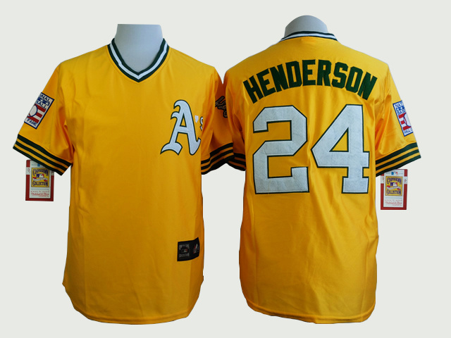 MLB Oakland Athletics 24 Rickey Henderson Yellow Cool Base Jerseys