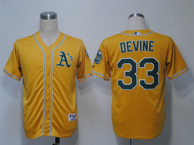 MLB Oakland Athletics 33 Devine Yellow Jerseys