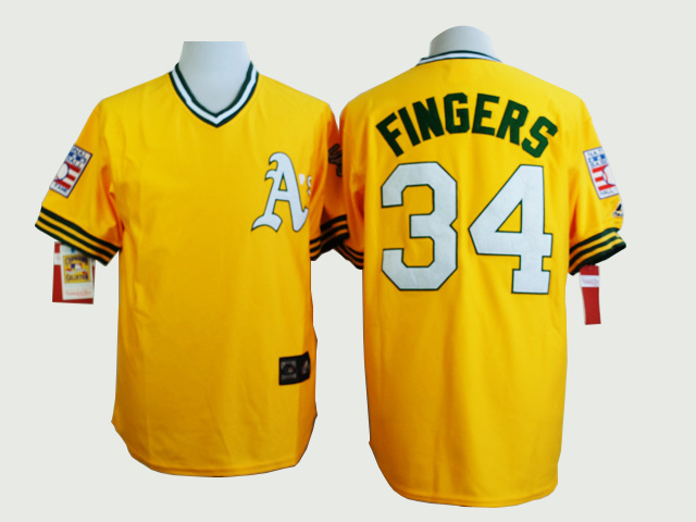 MLB Oakland Athletics 34 Rollie Fingers Yellow Jerseys