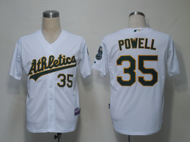 MLB Oakland Athletics 35 Powell White Jerseys