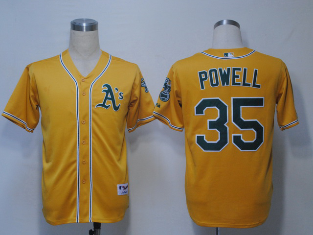 MLB Oakland Athletics 35 Powell Yellow Jerseys