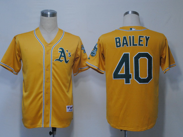 MLB Oakland Athletics 40 Bailey Yellow Jerseys