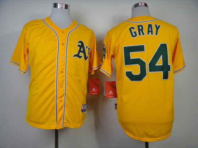 MLB Oakland Athletics 54 Gray Yellow 2015 Jerseys