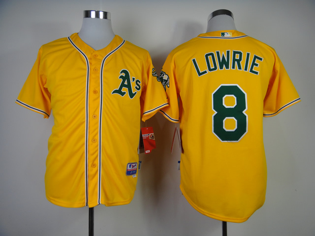 MLB Oakland Athletics 8 Jed Lowrie Yellow Jerseys