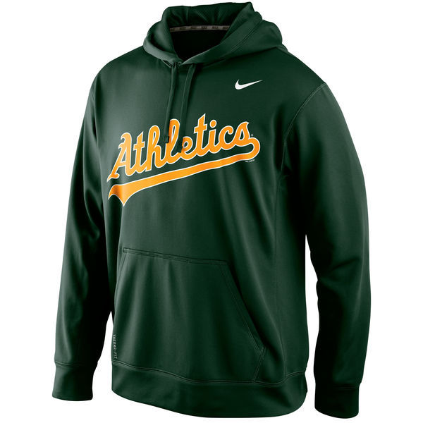 MLB Oakland Athletics Nike Mens KO Wordmark Perfomance Hoodie - Green