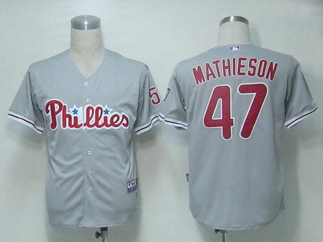 MLB Philadelphia Phillies 47 Mathieson Grey Jerseys