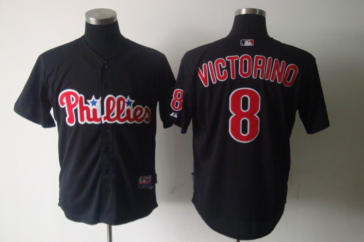 MLB Philadelphia Phillies 8 Shane Victorino Black Jerseys