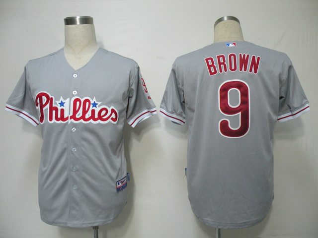 MLB Philadelphia Phillies 9 Brown Grey Jerseys