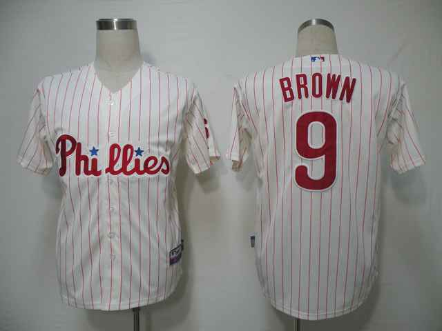 MLB Philadelphia Phillies 9 Brown red stripe Jerseys
