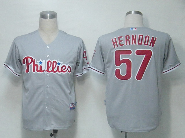 MLB Philadephia Phillies 57 Herndon Grey Jerseys