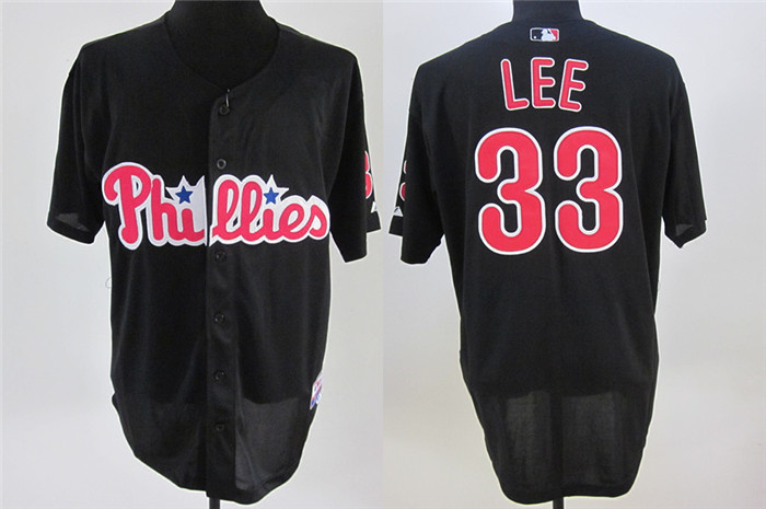 MLB Philadephia Phillis 33 Lee Black Jerseys