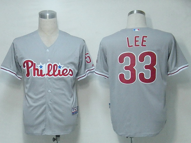 MLB Philadephia Phillis 33 Lee Grey Jerseys