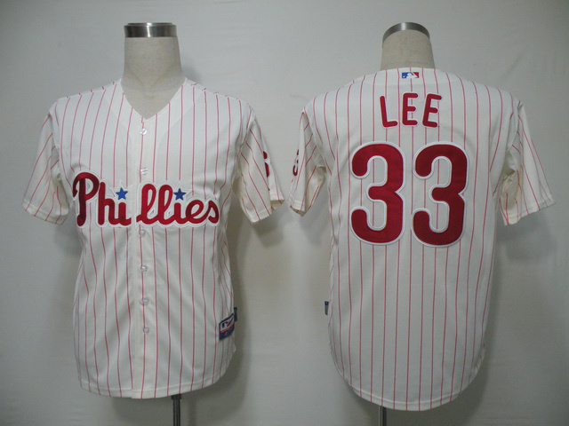 MLB Philadephia Phillis 33 Lee red stripe Jerseys