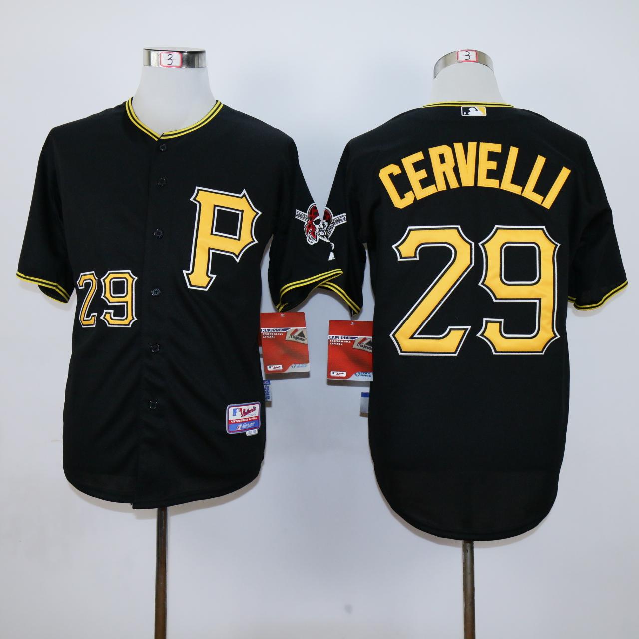 fe6b84c1a54 MLB Pittsburgh Pirates 29 Cervelli Black jerseys