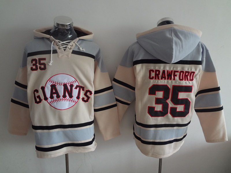 MLB San Francisco Giants 35 Crawford cream Lace Up Pullover Hooded Sweatshirt