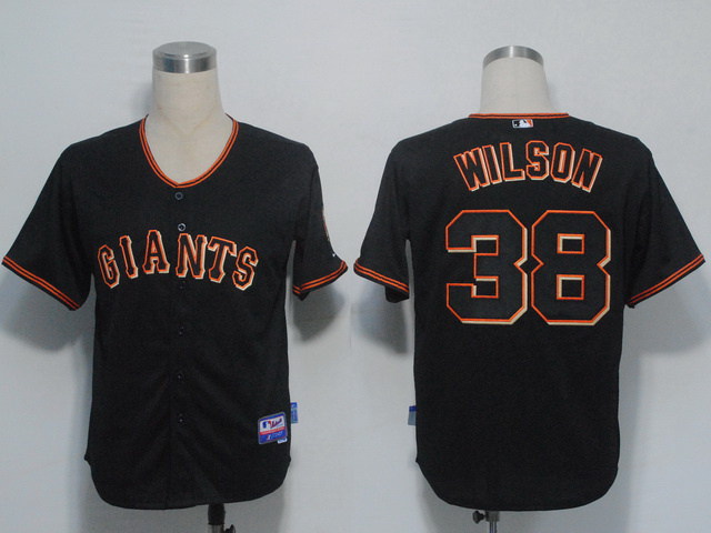 MLB San Francisco Giants 38 Wilson Black Jerseys