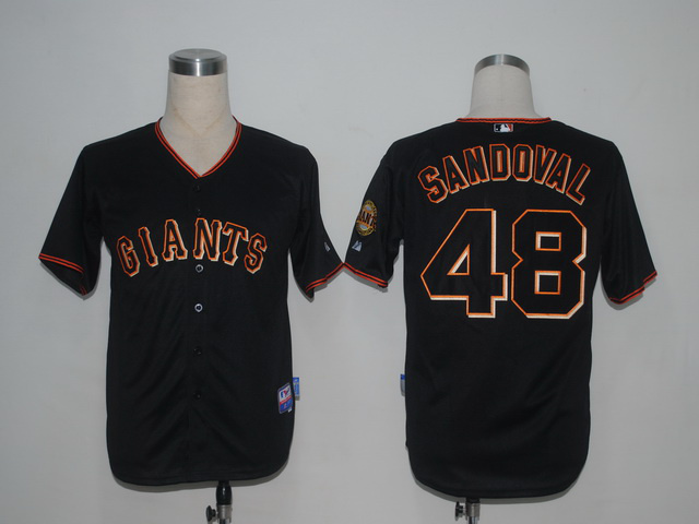 MLB San Francisco Giants 48 Pablo Sandoval Black1 Jerseys