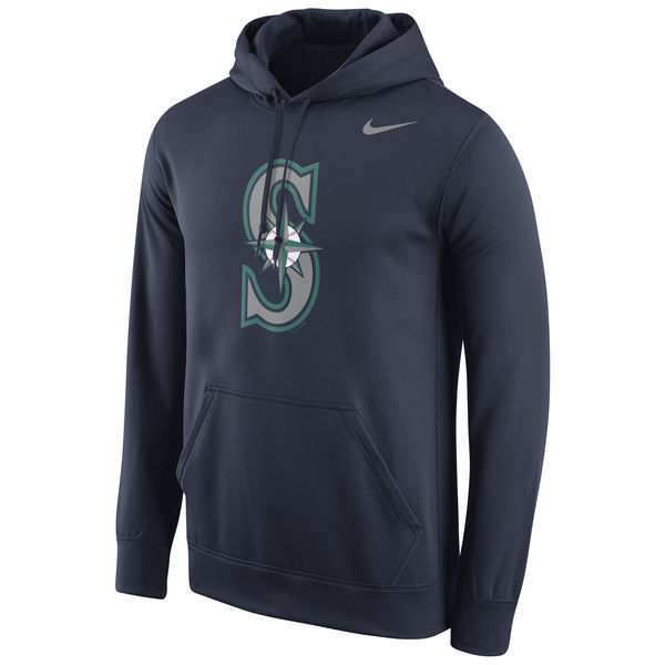 MLB Seattle Mariners Nike Logo Performance Pullover Hoodie - Navy