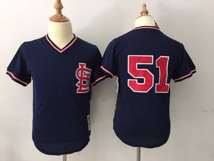 MLB St. Louis Cardinals 51 Willie McGee Blue Throwback Jerseys