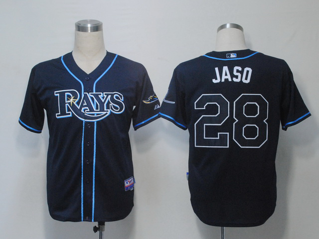 MLB Tampa Bay Rays 28 Jaso John Dark Blue Jerseys