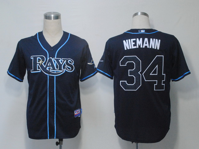 MLB Tampa Bay Rays 34 Jeff Niemann Navy Blue Jerseys