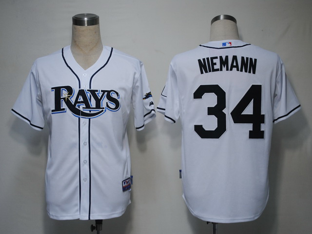 MLB Tampa Bay Rays 34 Jeff Niemann White Jerseys