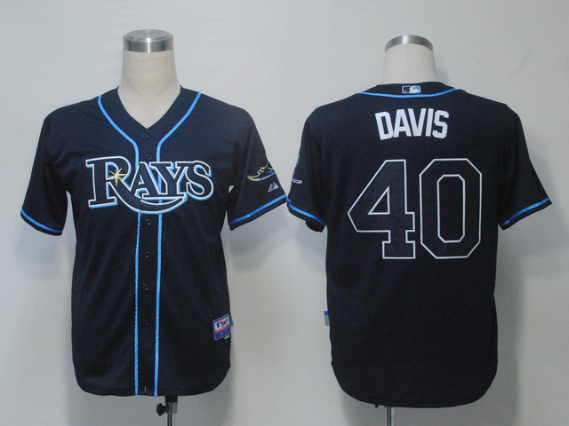 MLB Tampa Bay Rays 40 Wade Davis Dark Blue Jerseys