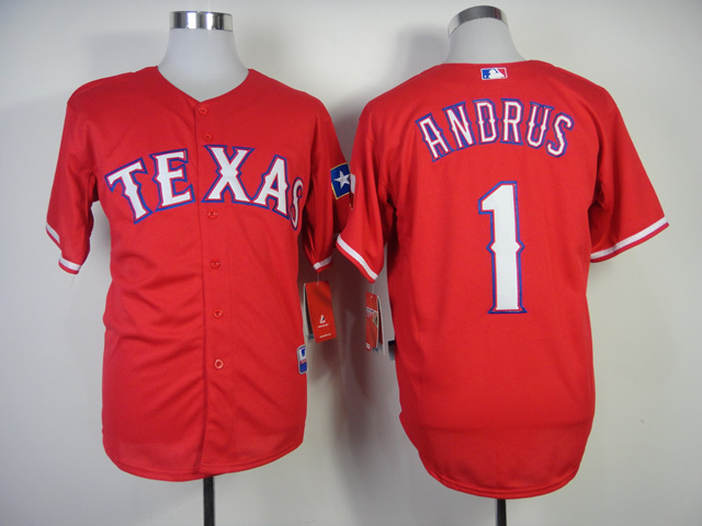 MLB Texas Rangers 1 Elvis Andrus Red Jerseys