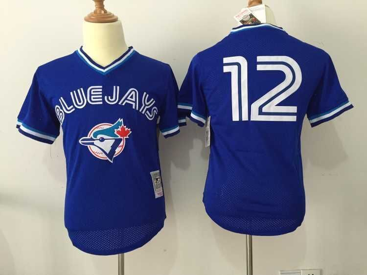 MLB Toronto Blue Jays 12 Roberto Alomar Blue Throwback Jerseys