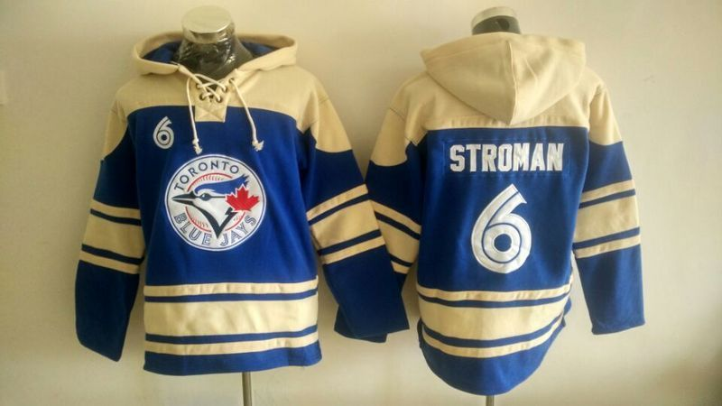 MLB Toronto Blue Jays 6 Stroman blue Lace Up Pullover Hooded Sweatshirt