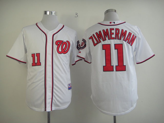 MLB Washington Nationals 11 Ryan Zimmerman White Jerseys