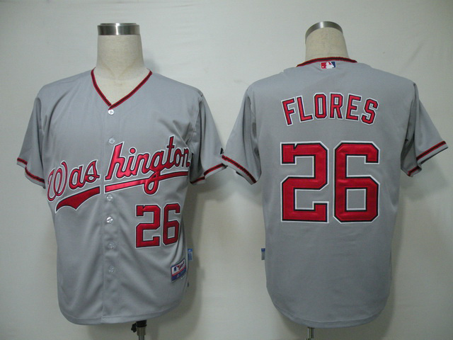 MLB Washington Nationals 26 Jesus Flores Gray Grey Jerseys