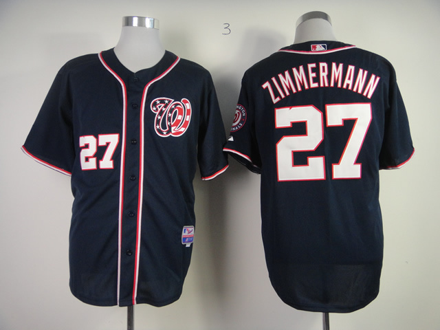 MLB Washington Nationals 27 Jordan Zimmermann Dark Blue Jersey
