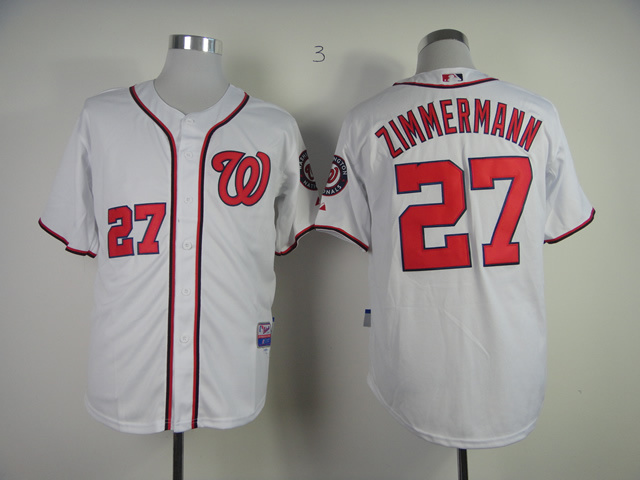 MLB Washington Nationals 27 Jordan Zimmermann White Jersey