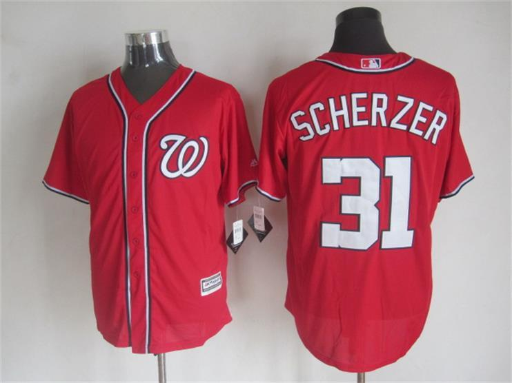 MLB Washington Nationals 31 Scherzer Red 2015 Jerseys