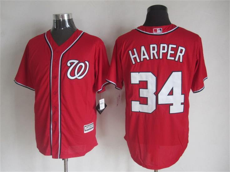 MLB Washington Nationals 34 Harper Red 2015 Jerseys
