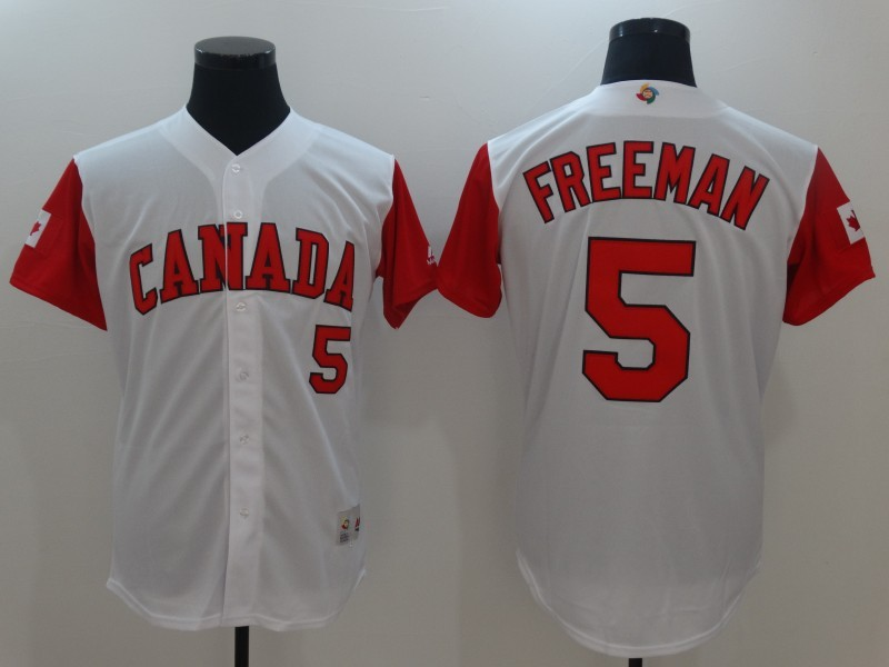 Men Canada Baseball 5 Freddie Freeman White 2017 World Baseball Classic Replica Jersey